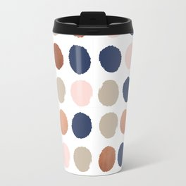 Rose Gold navy copper sparkle modern dots polka dots rosegold trendy pattern cell phone accessories Travel Mug