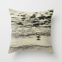 Curlew Wader Bird Rocky Seashore Throw Pillow