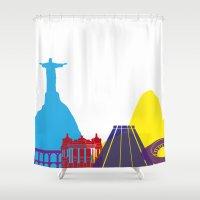 rio de janeiro Shower Curtains featuring Rio de Janeiro skyline pop by Paulrommer