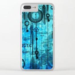 Blue Steam Punk Clear iPhone Case