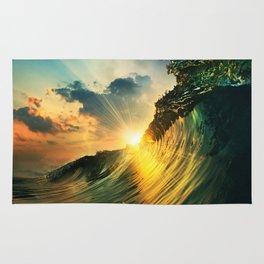 Beach - Waves - Sunset - Clouds - Sundown Rug