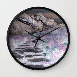 Cobble Stone Road Through The Mountains Towards Saturn Wall Clock