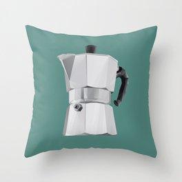 Coffee Moka Pot polygon art Throw Pillow