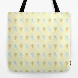 Owl and Olive Plants Pattern, yellow Tote Bag