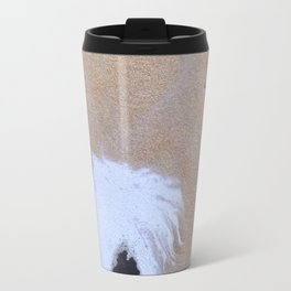 Abstract black and white painting with gold Travel Mug