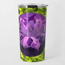 AMETHYST PURPLE  LIME GREEN PERIDOT GEMS BIRTHSTONES Travel Mug