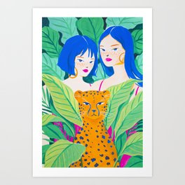 Girls and Panther in Tropical Jungle Art Print