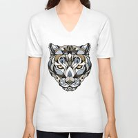 leopard V-neck T-shirts featuring Leopard by Andreas Preis