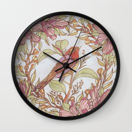 Magnolia And Marigold Wreath With Songbird Wall Clock