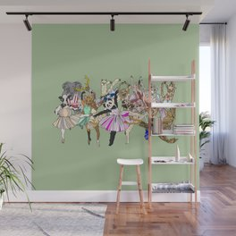 Animal Ballet Hipsters - Green Wall Mural