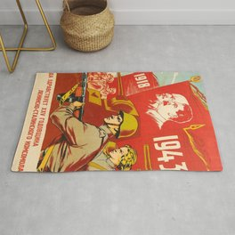 1943 Vintage 25th Anniversary Komsomol USSR WWII Soviet Propaganda Poster Rug