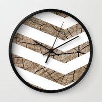 tree rings Wall Clocks featuring Tree Rings by Tyler