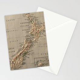Vintage New Zealand Physical Map (1880) Stationery Cards