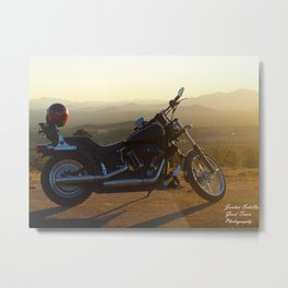 Sunset Harley Metal Print
