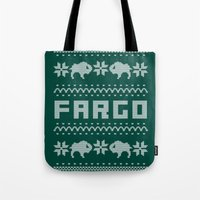 sweater Tote Bags featuring Fargo Sweater by Mandrie