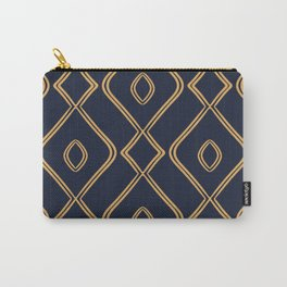 Modern Boho Ogee in Navy & Gold Carry-All Pouch