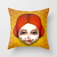 misfits Throw Pillows featuring Misfits - Beatrice by Raymond Sepulveda