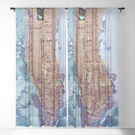 Map of Manhattan Sheer Curtain