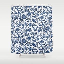 Indigo Botanical Pattern 2 Shower Curtain