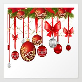 ORNATE HANGING RED CHISTMAS TREE DECORATIONS Art Print
