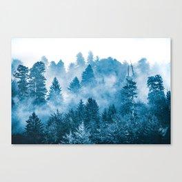 Blue Foggy Forest Adventure #46 Canvas Print