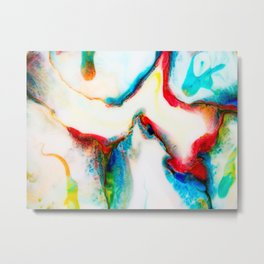 Milk Abstract in blue, red & yellow II Metal Print