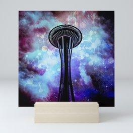 Space Needle - Seattle Stars Clouds Fog Mini Art Print