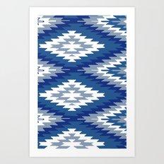 Kilim Rug Blue Art Print