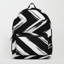 Minimalistic Black and White Paint Brush Triangle Diamond Pattern Backpack
