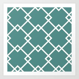 Diamonds (teal) Art Print