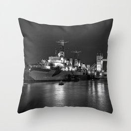 HMS Belfast in Black and White Throw Pillow