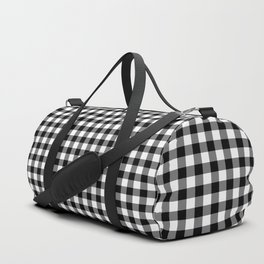Gingham Black and White Pattern Duffle Bag
