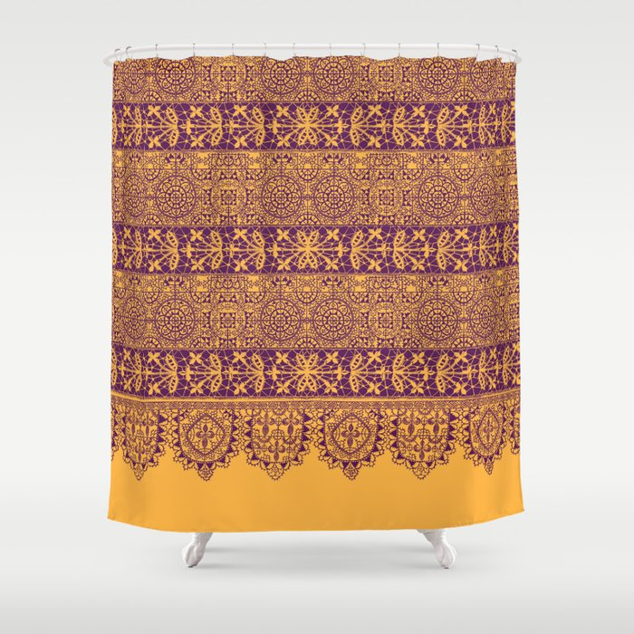 Crochet Lace Border In Warm Mood Shower Curtain By Mpzstudio Society6
