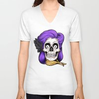 rockabilly V-neck T-shirts featuring Rockabilly Skull by Mark Matlock