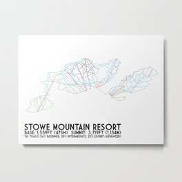 Stowe Mountain Resort, VT - Minimalist Trail Art Metal Print