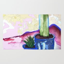 Porch Cactus Vibes - Watercolor Painting Mixed Media Rug