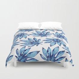 Tropical leaves - blue Duvet Cover