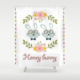 Honey bunny. Gay rabbits couple Shower Curtain