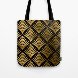 Luxurious Black and Gold Art Deco Elegant Pattern Tote Bag