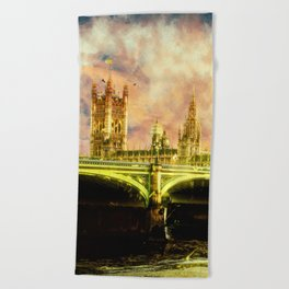 Abstract Golden Westminster Bridge in London Beach Towel