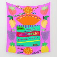 bread Wall Tapestries featuring Bread Pop Art Food  by Artbrightcy