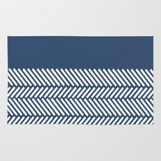 Herringbone Boarder Navy Rug