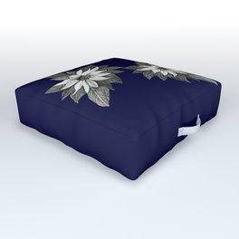 Florida Flower Navy Blue Background Outdoor Floor Cushion