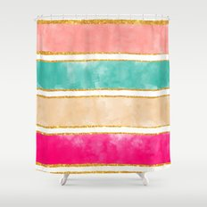 Modern Stripes Pink Red Watercolor Gold Glitter Shower Curtain