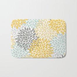 Floral Pattern, Yellow, Pale, Aqua, Blue and Gray Bath Mat