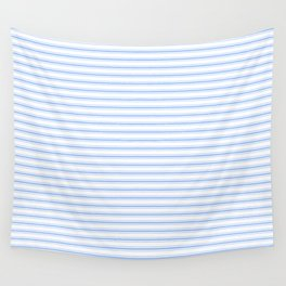 Mattress Ticking Narrow Horizontal Stripe in Pale Blue and White Wall Tapestry