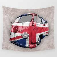vw bus Wall Tapestries featuring VW UK Flag by Alice Gosling