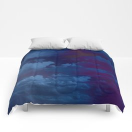 Clouds in a Stormy Blue Midnight Sky Comforters