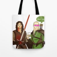 aragorn Tote Bags featuring What I miss? by tokidokiloki