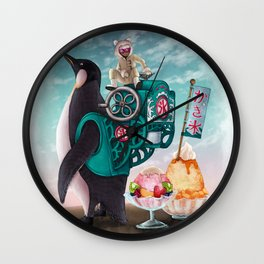 Penguin Shaved Ice Wall Clock
